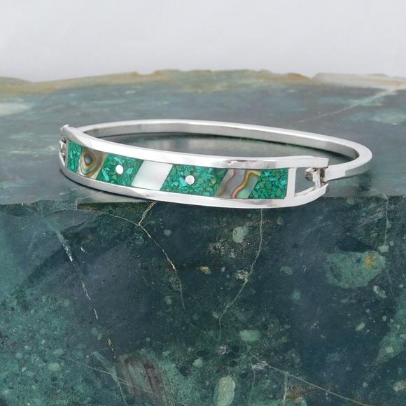 Alpaca Mexican Silver Bracelet Abalone Shell Inlays 6-14 Vintage Blue Enamel U21